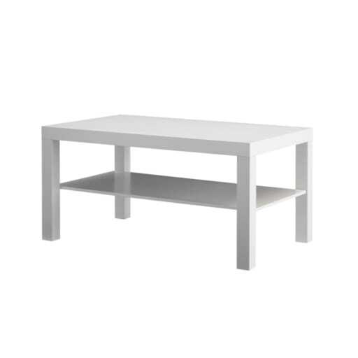 Low lounge table white 55x90 cm.