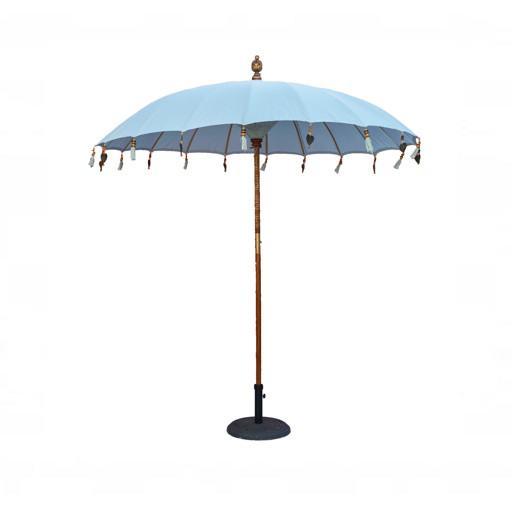 Sombrilla balinesa para mesa de madera verde
